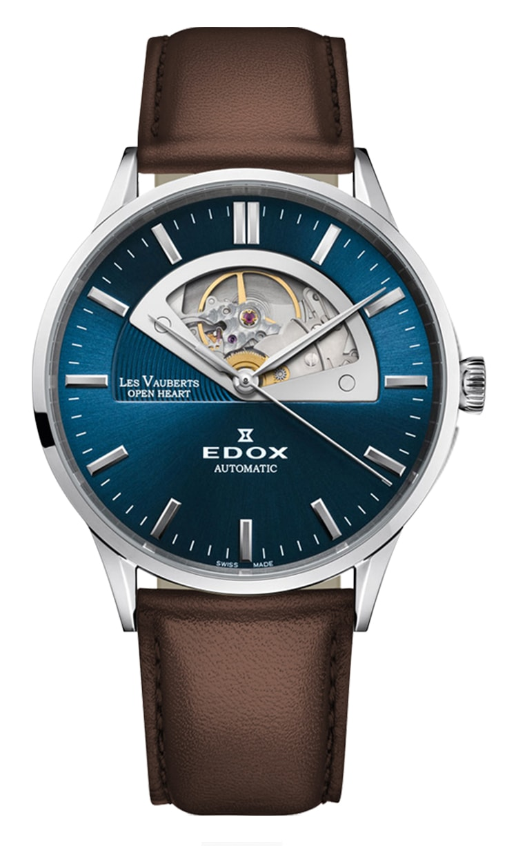 Часы Edox Les Vauberts Open Heart Automatic 85014 3C1 BUIN